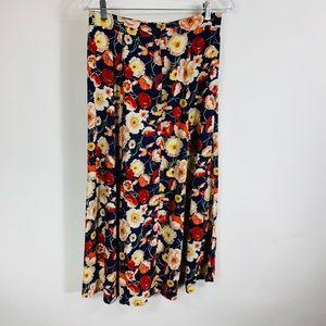 Floral Button Up Midi Skirt Medium Red Blue White